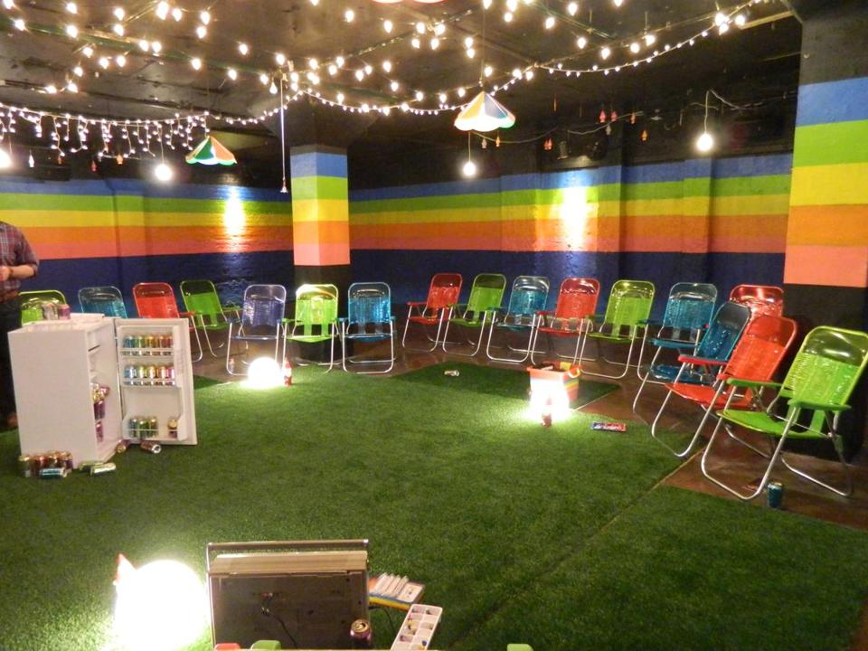"The audience sat in lawn chairs around an AstroTurf set at Chopin Theatre for the play ""12 Nights"" (all playing last August)."